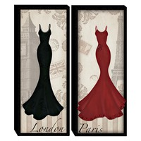 Illuminada - London Paris Dresses (Set of 2) Wood Art (2065) - Wood - Wall Art