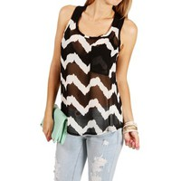 Black/Taupe Chevron Sleeveless Top