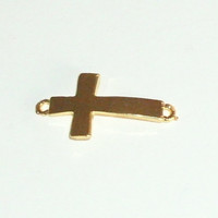 Sideways Cross Bead Bar Gold