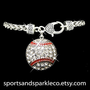 Rhinestone Baseball Charm Clasp Sports Bracelet
