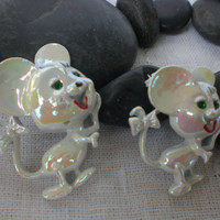 Pair of Vintage Mouse Brooches 1950-60&#x27;s