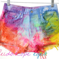 Vintage Levis 501 High Waist Rainbow MARBLED Dyed Denim Cut Off Shorts S M