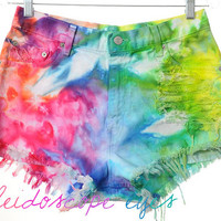 Vintage Levis High Waist Rainbow MARBLED Dyed Denim Cut Off Shorts L