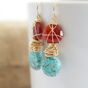 Turquoise Dangle Earrings, Wire Wrapped Earrings, Orange and Blue Earrings, Carnelian Dangle Earrings