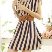 TRENDY STRIPE SKATER DRESS WITH BELT