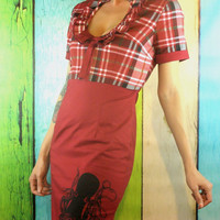 Womens red pin up dress octopus design ladies apparel red day dress plaid fashion retro clothing
