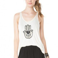 Brandy ♥ Melville |  Kay Hamsa Embroidery Tank - Clothing