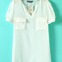 White Women Front Pocket V Neck Chiffon Loose Blouses S/M/L EF5658w from efoxcity