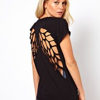 ASOS T-Shirt with Lazer Cut Wings at asos.com