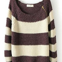 Coffee Striped Long Sleeve Loose Zipper Sweater