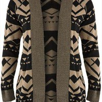 Mocha & black aztec patterned cardigan plus size 16,18,20,22,24,26