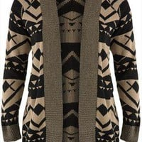 Mocha &amp; black aztec patterned cardigan plus size 16,18,20,22,24,26