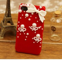 Rhinestone Bowknot Pearl Case for iPhone4/4S