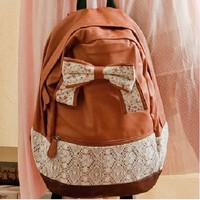 Ribbon Bow Lace Backpack