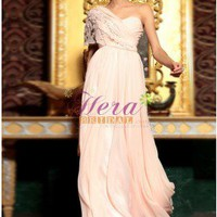 Ruffles One Shoulder Sweetheart Neckline Floor Length Light Pink Evening Dress