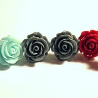 1 Pair Rose Stud Pierced Earrings to Match my &quot;Roses are ...&quot; Conch Cuffs Wedding Prom Bridal  2 Earrings