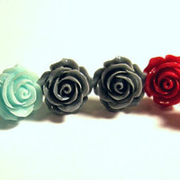 "1 Pair Rose Stud Pierced Earrings to Match my ""Roses are ..."" Conch Cuffs Wedding Prom Bridal  2 Earrings"