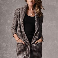 Shawl-collar Sweater Coat