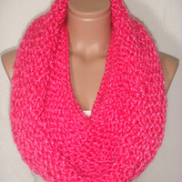 NEW - Knitted, Hooded Cowl, Scarf, Neck warmer,Loop Scarf (Fuchsia) by Arzu&#x27;s Style