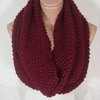 Hand Knitted Hooded Cowl/Scarf/Neck Warmer/Loop Scarf (Burgundy, Wine) by Arzu&#x27;s Style