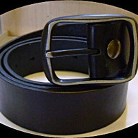 handmade mans black leather belt