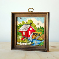 Red House and Water Wheel Vintage Needlepoint - Rustic Home Decor