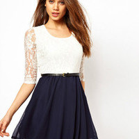 romefashion  elegant lace bowknot montage dress
