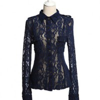 Retro Sheer Lace Shirt with Shoulder Epaulets