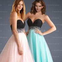 Graduation Dresses Canada — A-line Sweetheart Tulle Floor-length Blue Crystal Party Dress at Dresseshop.ca