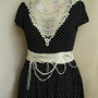 Dress retro dress knit dress, medium size, dress with belt polka dots, black and white, vintage lace applique a line dress ivory creamy