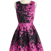 Make the Rounds Dress in Fuchsia Bouquets | Mod Retro Vintage Dresses | ModCloth.com