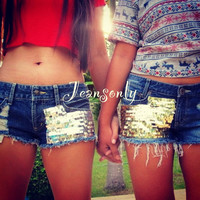 Big & Lil sis shorts,low rise sequin shorts by Jeansonly
