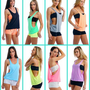 WOMEN&#x27;S / JUNIORS SEXY DRAPE TANK TOP WITH OPEN SIDES NEON COLORS PLAIN SHIRT