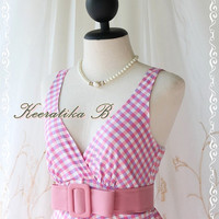 Luella Summer Dress - Sweet Cutie Spring Summer Dress Checkered Sundress Luella Collection Pink/Lilac Color Party Dress