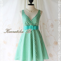 Princess Luella Summer Dress - Sweet Cutie Spring Summer Dress Checkered Sundress Princess Luella Collection Sweet Green Color Party Dress