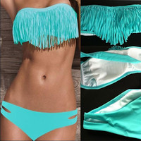 Blue Beauty Women Boho Two PCS Padded Fringe Top Strapless Bikini