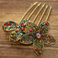Colourful Gold Rhinestone Flower Blossom Hair Comb