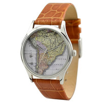 Vintage Map Watch (South America) in Silver