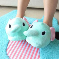 [1389-Mint] Mint Color Cute Circus Elephant Slippers [1389]