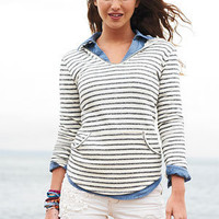 Striped V-Neck Sweatshirt