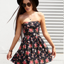 Strapless Rose Print Dress