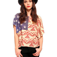 GYPSY WARRIOR - Aztec American Flag Top