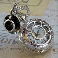Alice in Wonderland Tea Party Steampunk pocket watch necklace