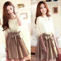 DARLING CHIFFON DRESS WITH BOW WAIST TIE.