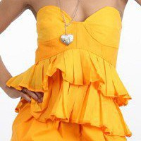 Yellow Orange Corset Bustier Ruffled Baby Doll Shirt Top | lovekarlak - Clothing on ArtFire