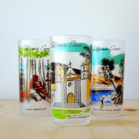 Santa Barbara Mission Souvenir Tumbler California Scenes Retro Kitsch