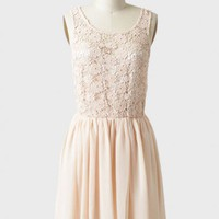 parade's end crochet detail dress in peach at ShopRuche.com