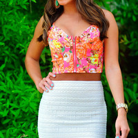 Brought Me Flowers Crop Top: Neon Pink | Hope&#x27;s