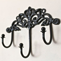 Wall Metal Hook /Black /Bright Shabby Chic Decor by AquaXpressions