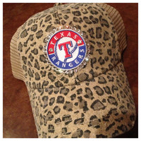 Texas Rangers Leopard Print Mesh Trucker Cap with by ThreadsToo